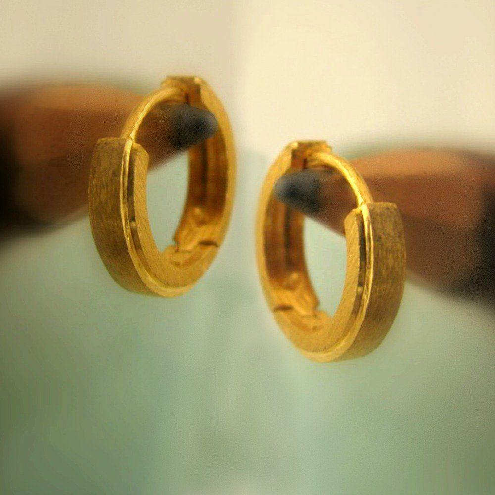 Mens Earrings In 14k Yellow Gold Solid Huggie Hoop E002my