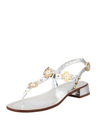 Prada Metallic Floral Sandal  Metallic  in Italy.