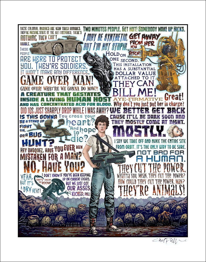 Not Bad For A Human Aliens Tribute Print Signed Print Etsy Tribute Alien Sign Printing