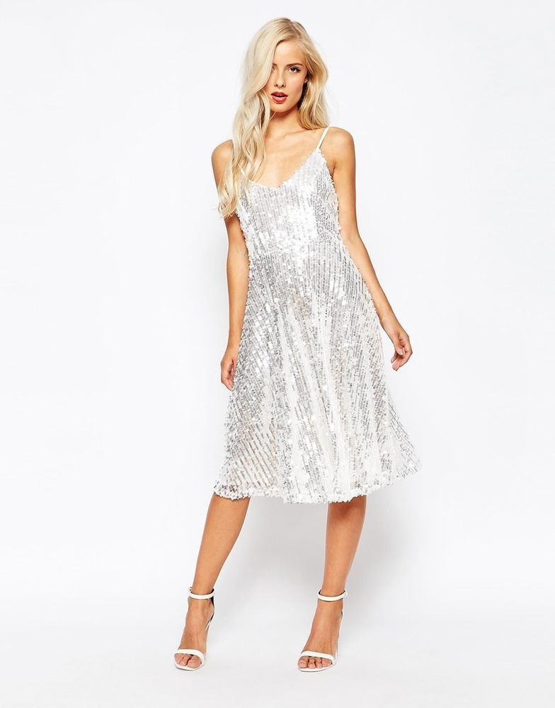 e25752eb049 True Decadence Sequin Midi Skater Evening Dress Silver Size M UK 12 EU  40 US 8