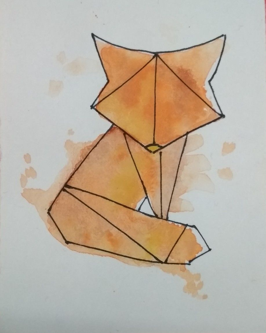 Geometric Fox Watercolored Idea From Pinterest Watercolor Easy