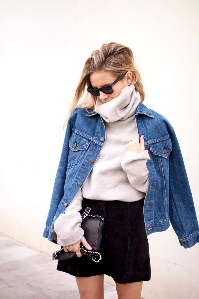 Cream turtleneck, denim jacket and black skirt. Perfection
