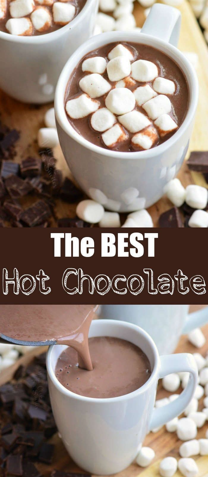 The BEST Homemade Hot Chocolate recipe. This is a rich, smooth, and creamy hot chocolate made with bittersweet chocolate, cocoa powder, milk, and a splash of vanilla extract. #drink #hotchocolate #chocolate #hotcocoa #hotdrink
