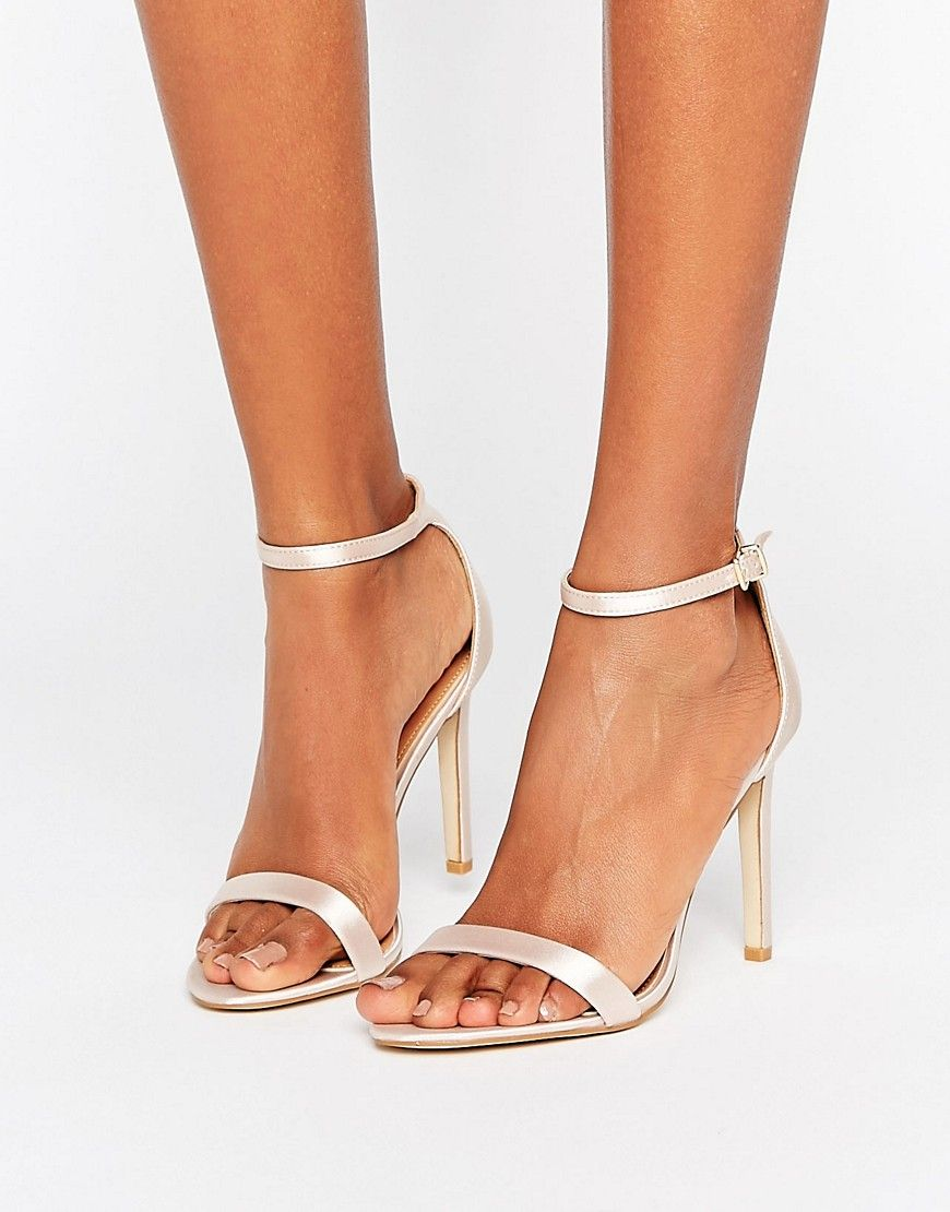 Avril Satin Barely There Heeled Sandals - Gold satin Public Desire KSCCYu