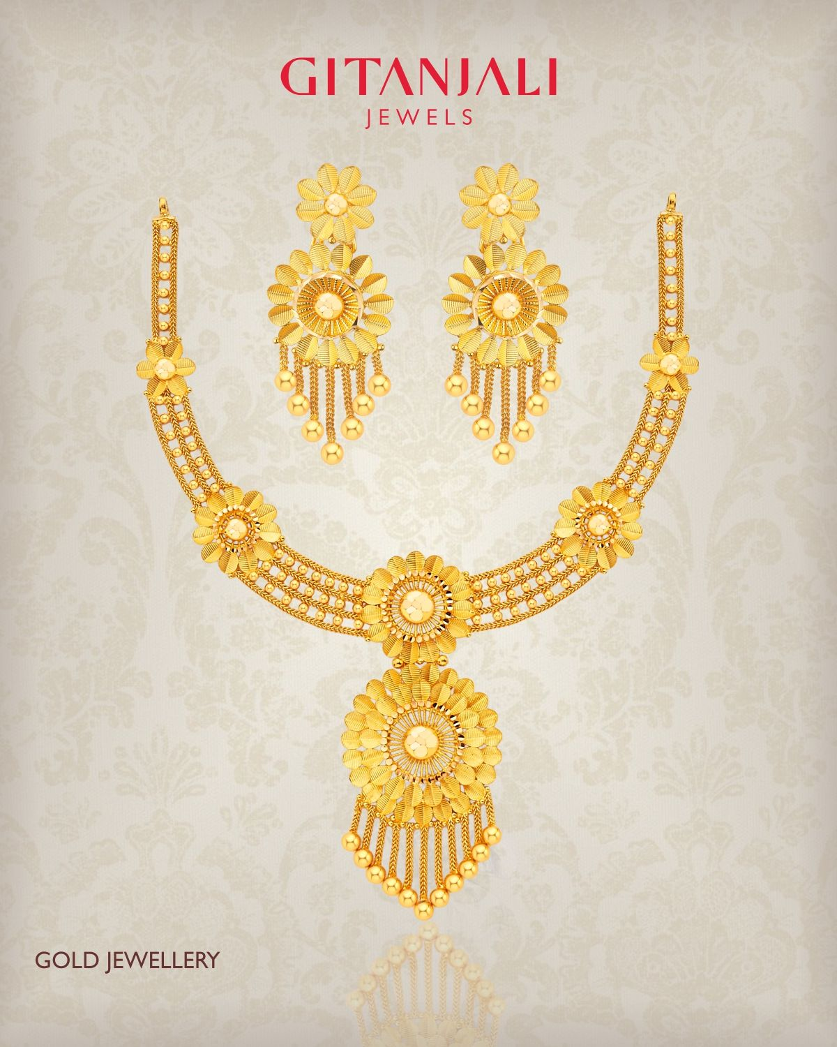 Adorn yourself with this gorgeous #22kt #Gold #necklaceset from #GitanjaliJewels crafted in an intricate tasselled floral pattern and let your style speak for you. #GitanjaliJewels #goldjewellery #plaingold #necklaceset #necklace #earrings #22kt