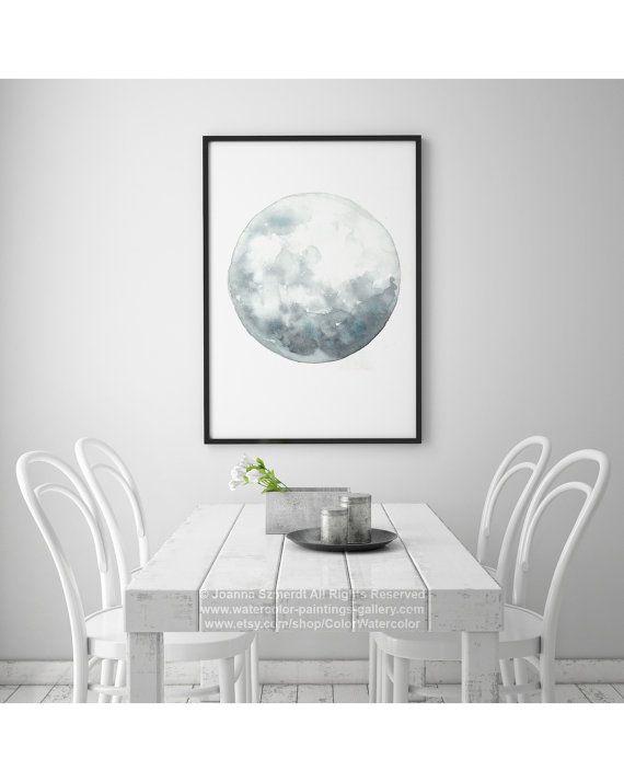 Arte de luna llena luna de acuarela azul de la pared for Decoracion hogar gris