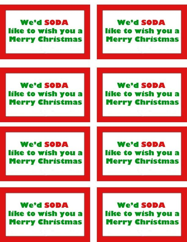 Perfect Secret Santa Gift Free Gift Tag Printable We D Soda Like