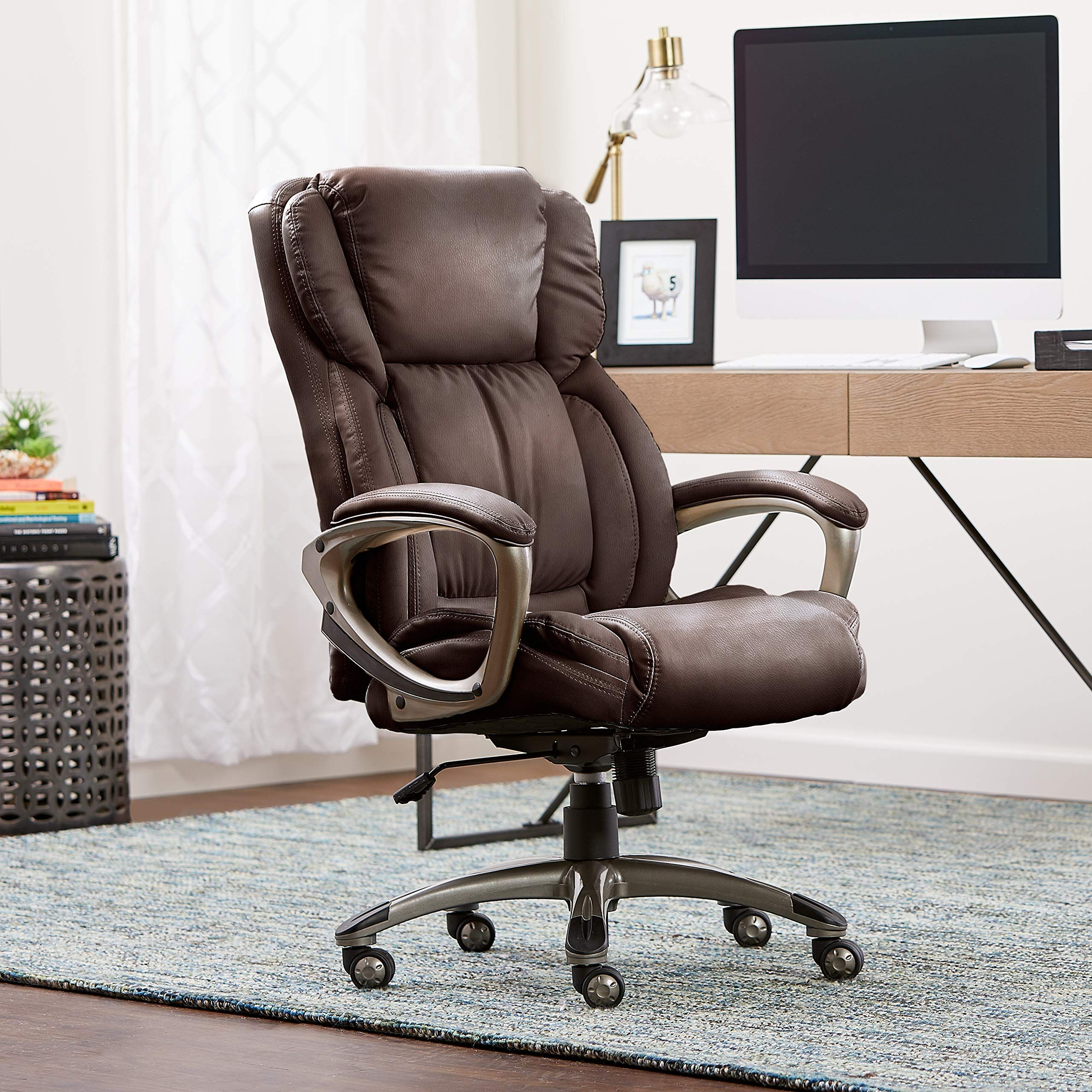 Serta Works Executive Office Chair, Bonded Leather, Brown * You