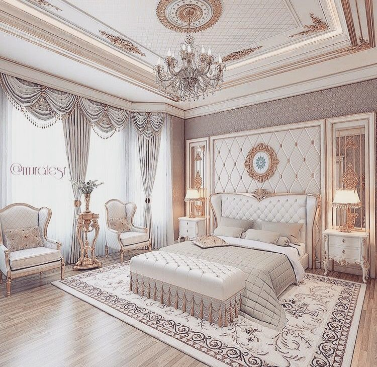 Neutral Luxurious Bedroom Romantic Elegant