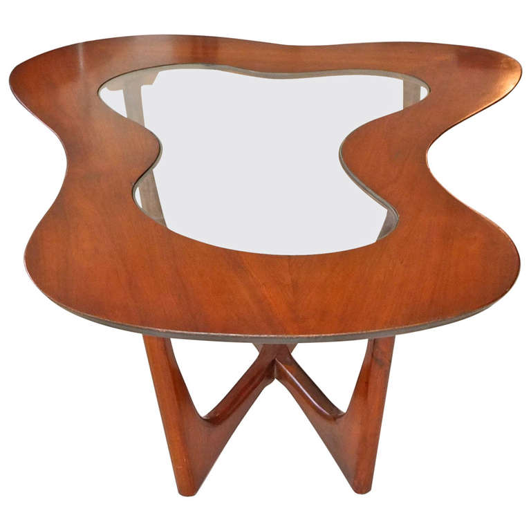 Erno Fabry Biomorphic Walnut Glass Cocktail Table Coffee Mid