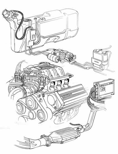 Automotive Technical Illustration Of Fuel Injection Components For