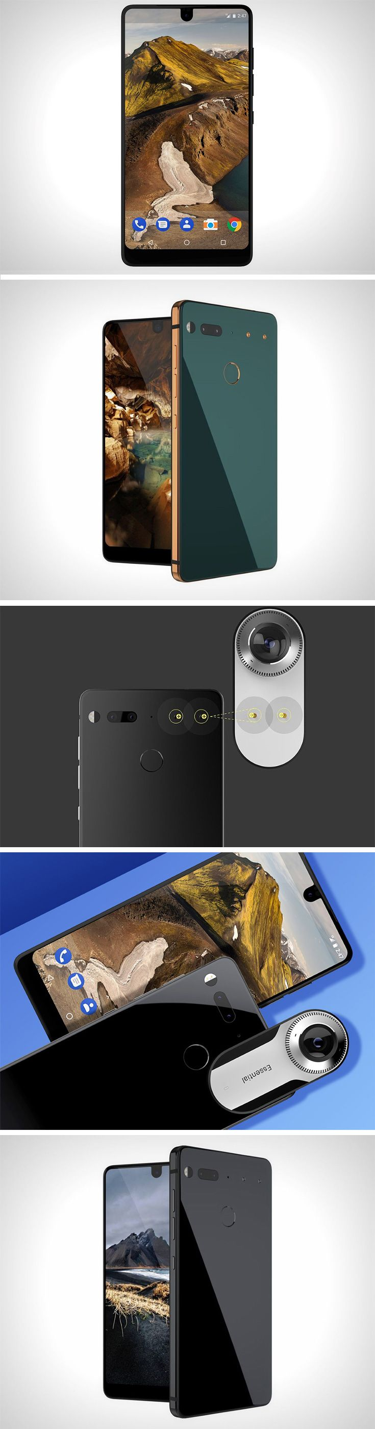 The Essential Phone looks like one of those crazy projects done by some student with the screen stretching from end to end. However, it isn't a concept. It exists! Designed with a screen that's hard to wrap your head around, the Essential Phone's front face literally has a screen wrapped around all of it! That's right. Virtually no bezel. In fact, the screen even comes with a small indent, allowing the front facing camera to sit proudly on the top of the phone. This is, the Essential Phone.
