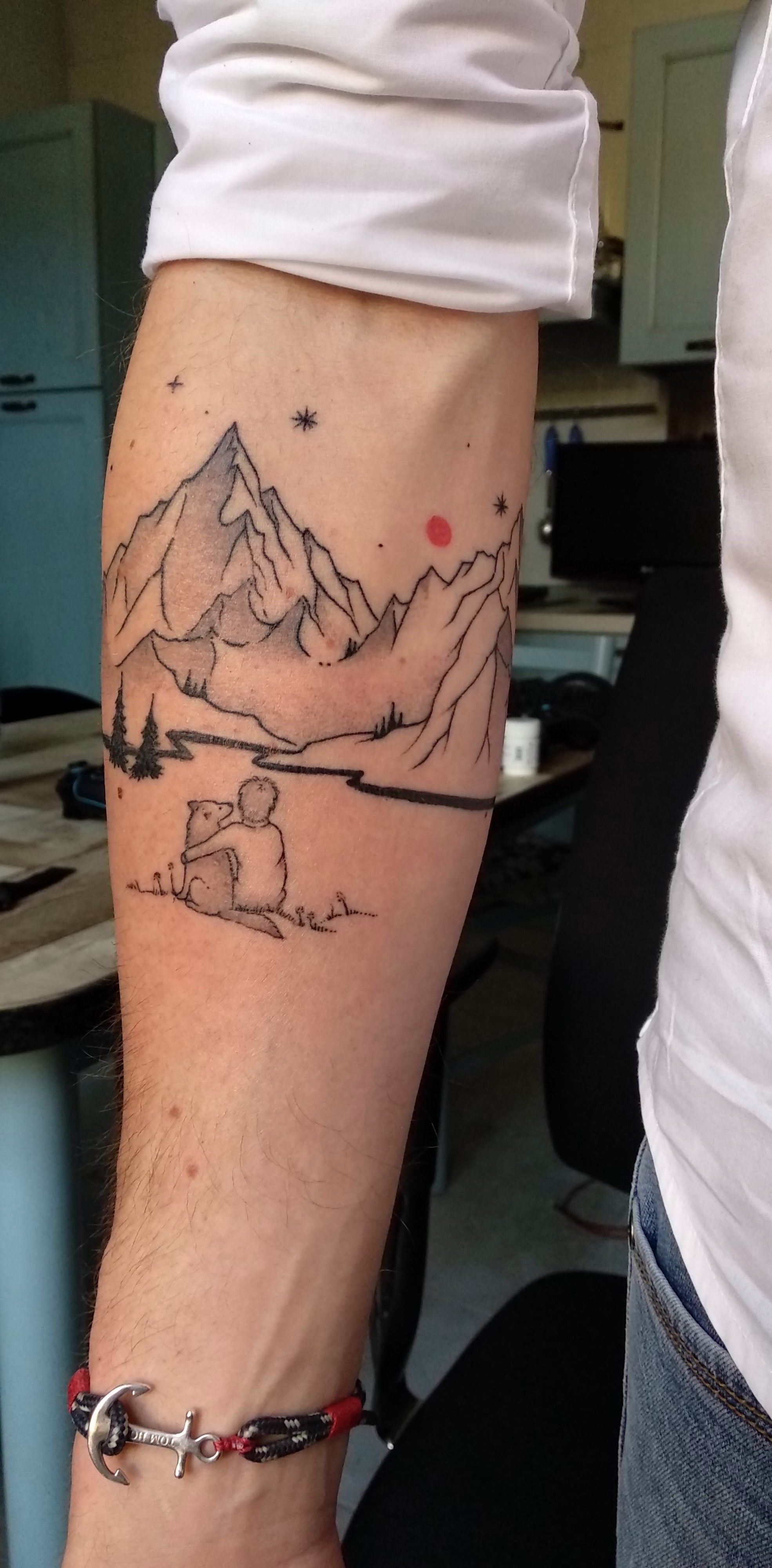 Dog and mountain tattoo image from upjohnx on reddit ink dog and mountain tattoo image from upjohnx on reddit gumiabroncs