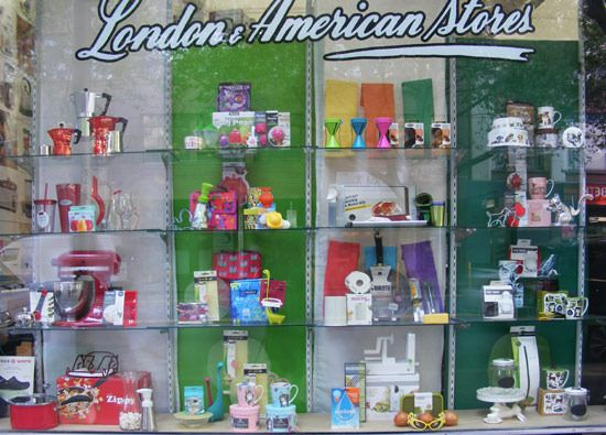 Window display and image by Patricia Denis for client: London and American Supply Stores.