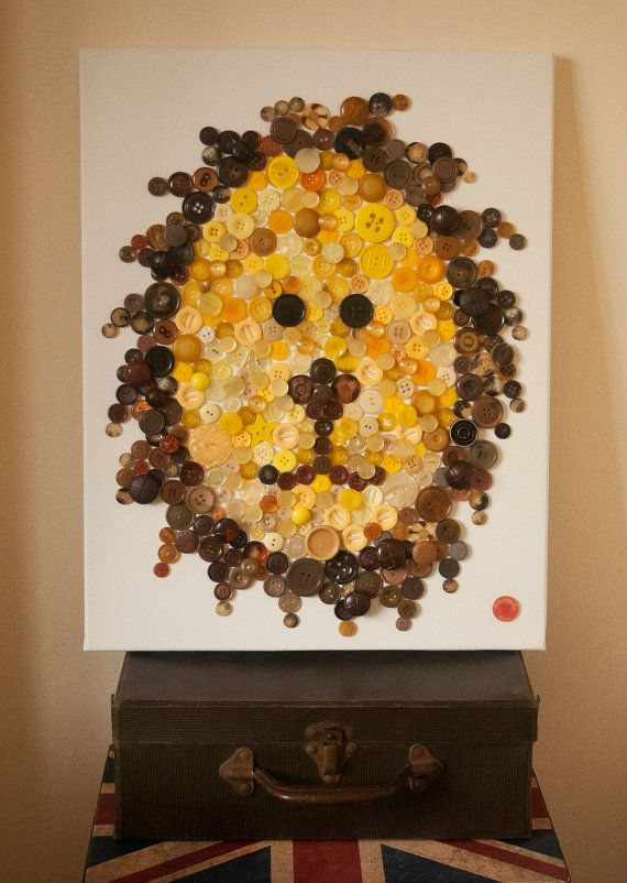 Handmade Button Zoo Canvas Animal art Nursery by WonderfullyWorn, £75.00