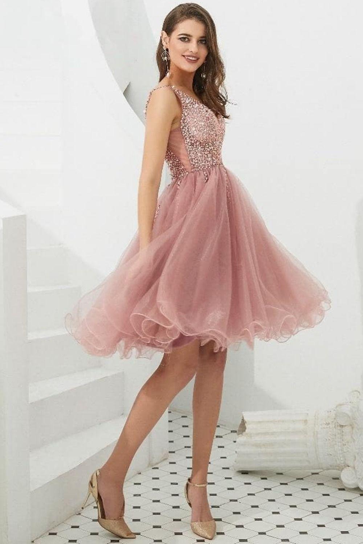 Knee length short blush pink party dress pink