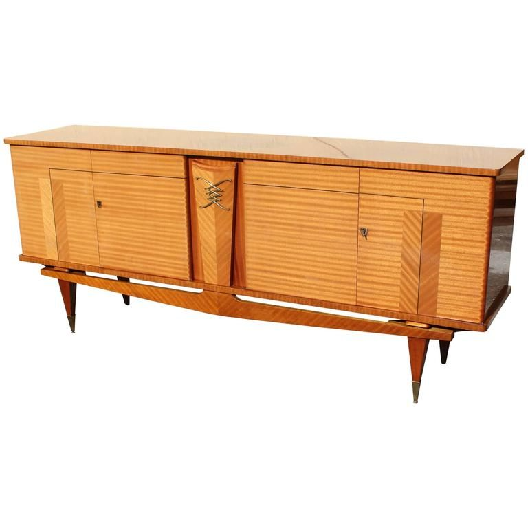 French Art Deco Sideboard Or Buffet Flame Mahogany Ski Leg Style Circa 1940 1