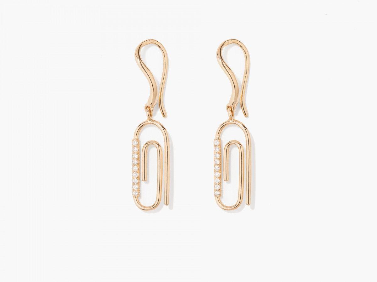 Paper Clip Diamonds Earring