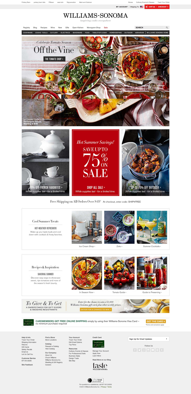Top retailing websites - williams sonoma