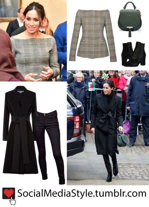 Meghan Markle's Black Coat, Plaid Off-The-Shoulder