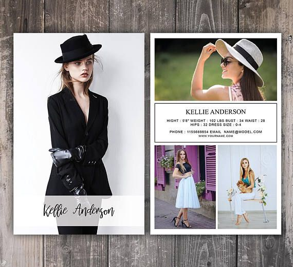 Modeling Comp Card Template Fashion Model Comp Card Graphic Design - Model comp card template