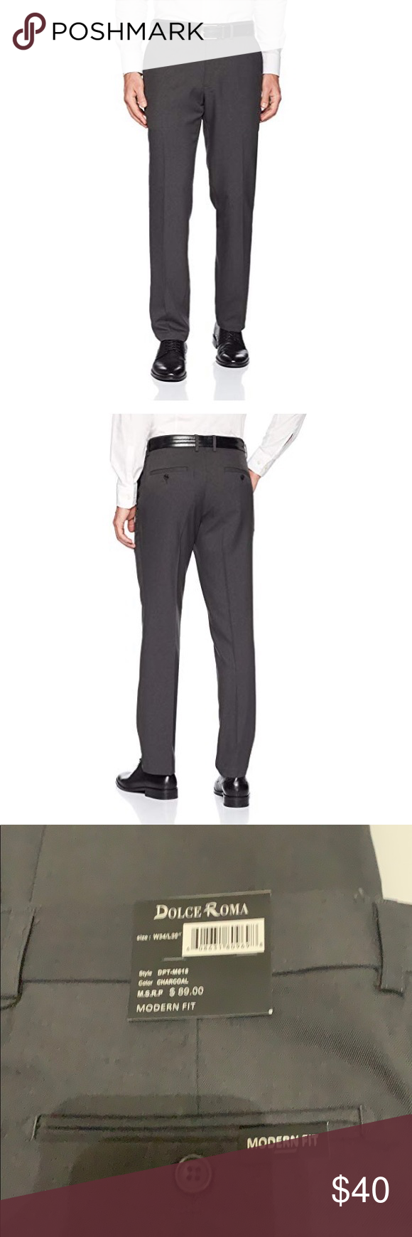 Dolce Roma Modern Fit Solid Dress Pants Charcoal Modern Fit Dress Pants Dress Pant [ 1740 x 580 Pixel ]