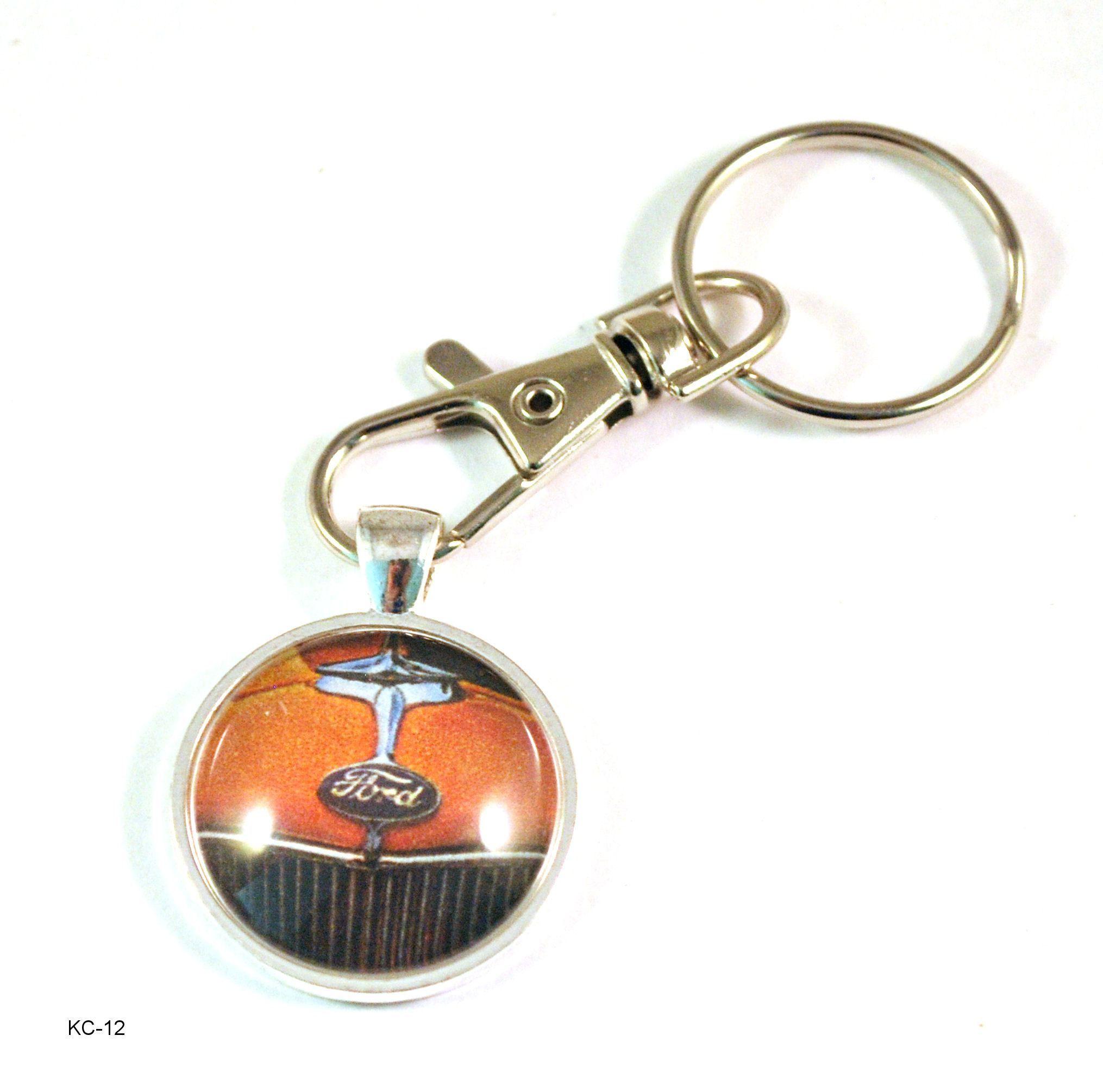 Orange Aluminum Metal Oval Ford Mustang Logo Key Chain Fob Chrome Ring