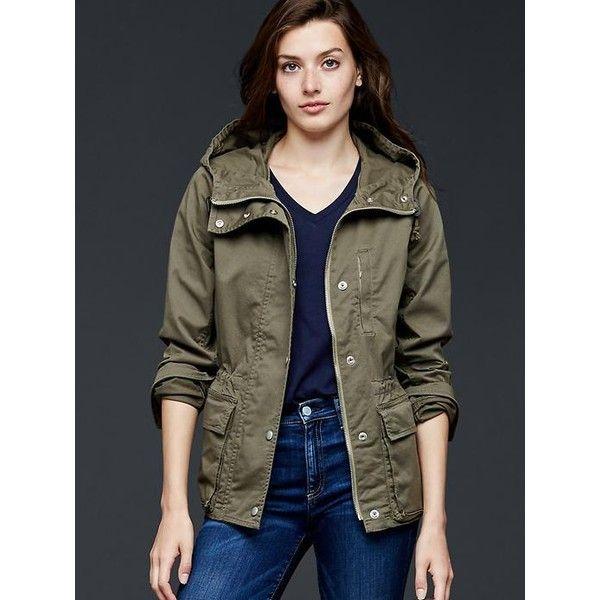 Gap Women Utility Hooded Jacket ($88) ❤ liked on Polyvore ...