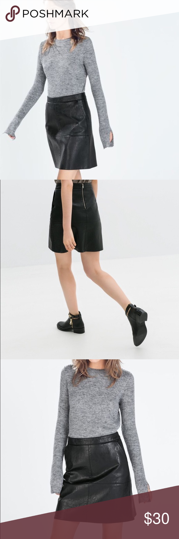 16d607042d Zara Faux Leather A Line Skirt