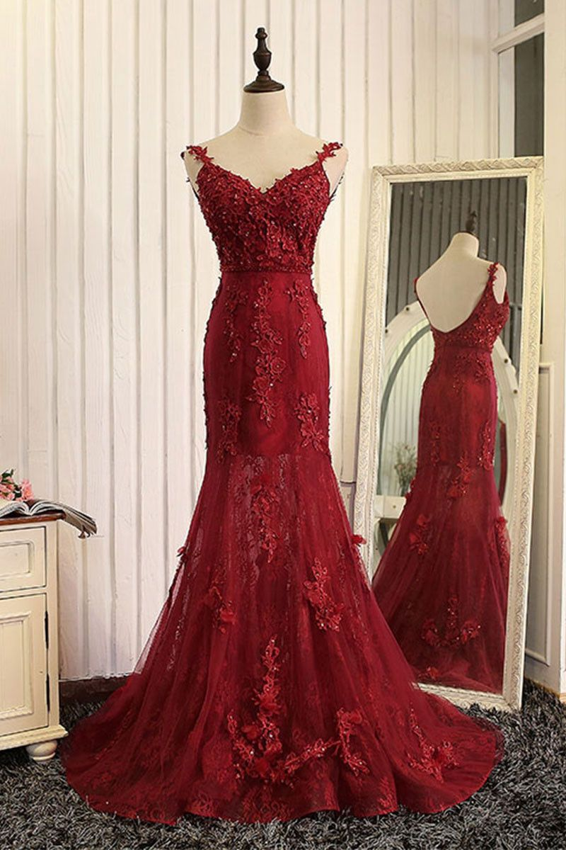 Red mermaid lace long prom dress lace mermaid evening dress extra