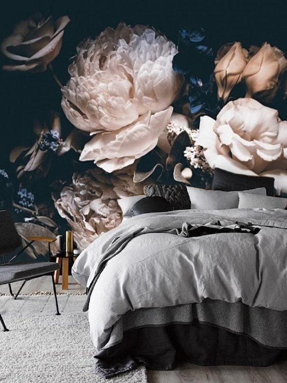 Dark Vintage Floral Wallpaper Dramatic Floral Wall Mural Vintage Floral Wallpapers Large Floral Wallpaper Floral Wallpaper
