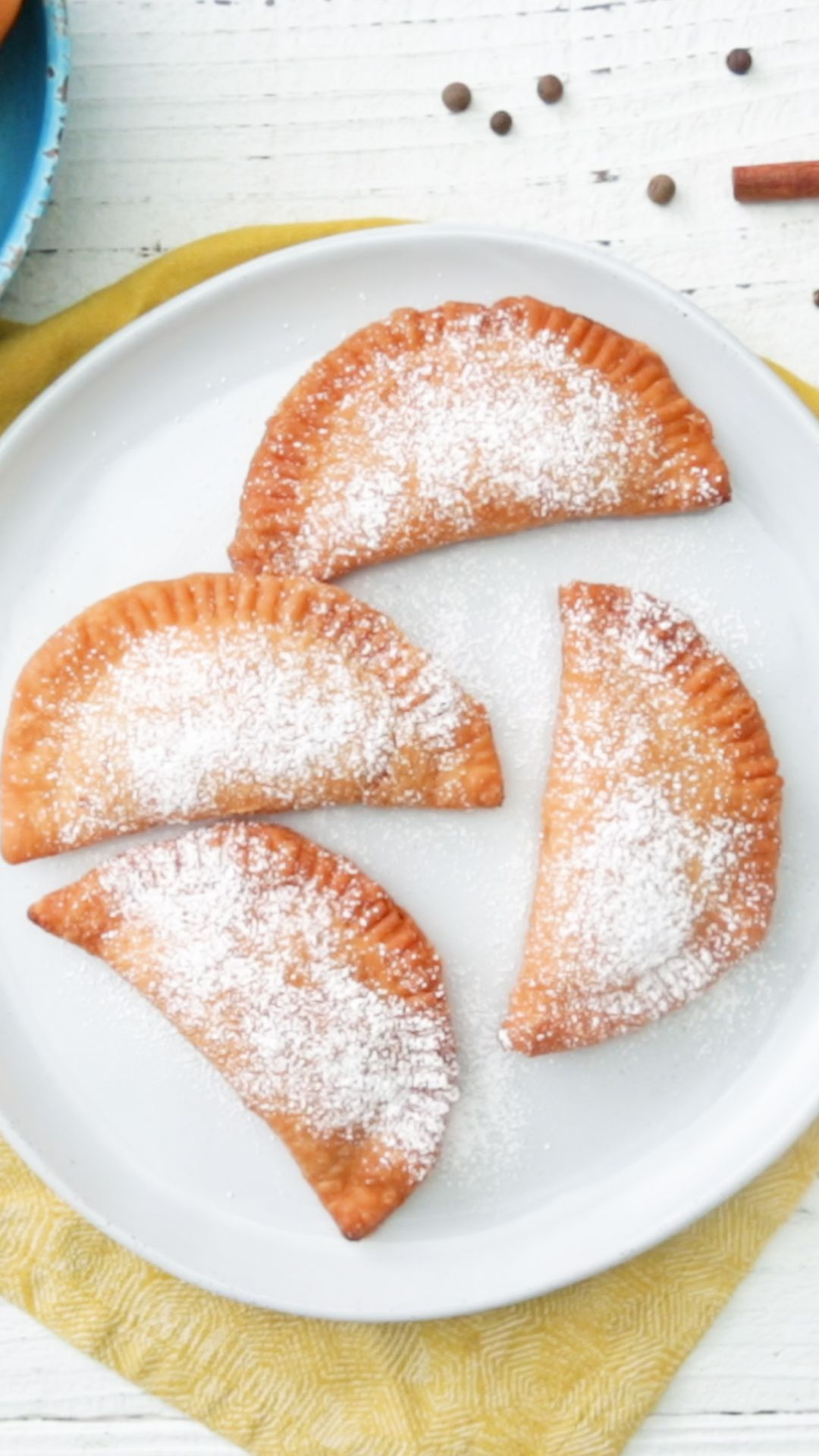 That perfect combination of peaches and cream is made better when fried in a crispy empanada.