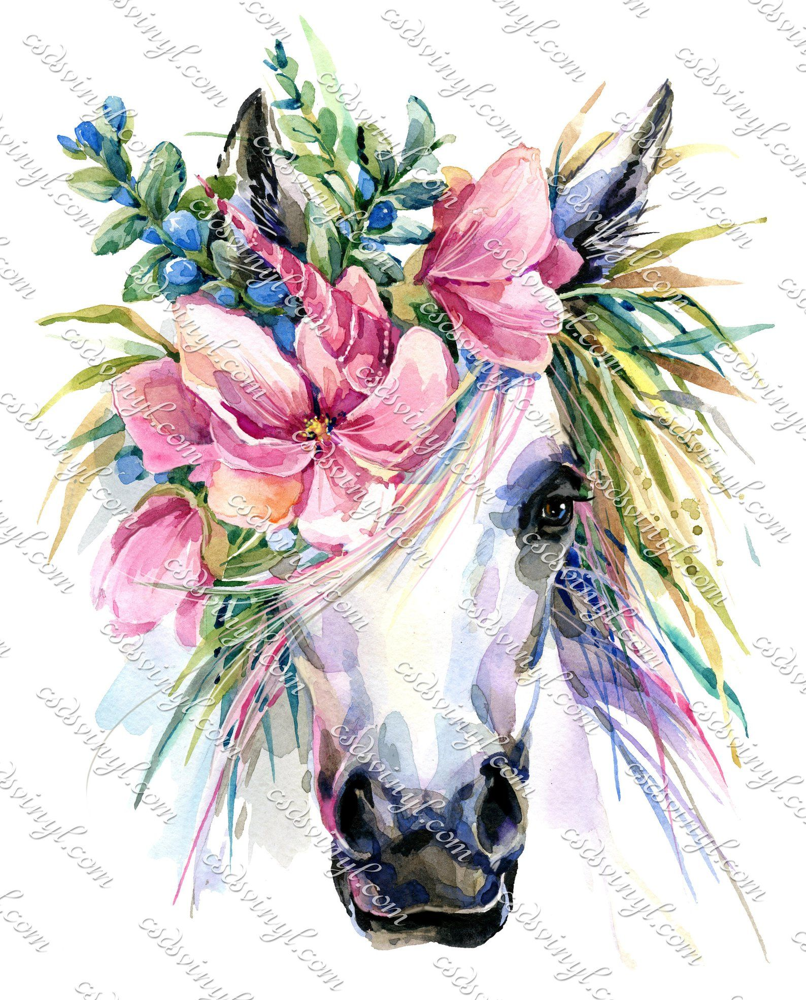 Unicorn With Flowers Floral Unicorn Sublimation Transfer Ready