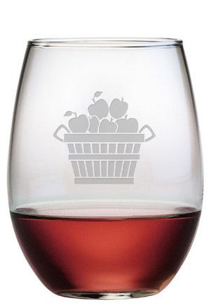This Apple Basket stemless wine glass is not only perfect for fall and Thanksgiving, but any time of the year.