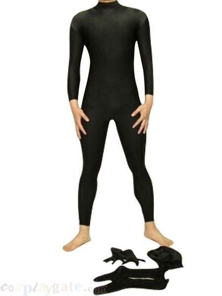 black zentai suit Black Full Body Unisex Shiny Lycra Spandex ...