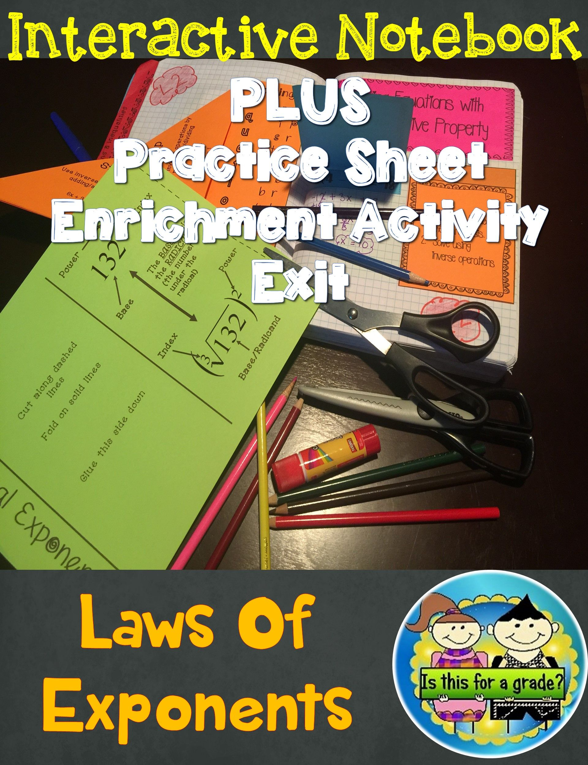 Exponential Rules Foldables, INB Acitivity, Practice
