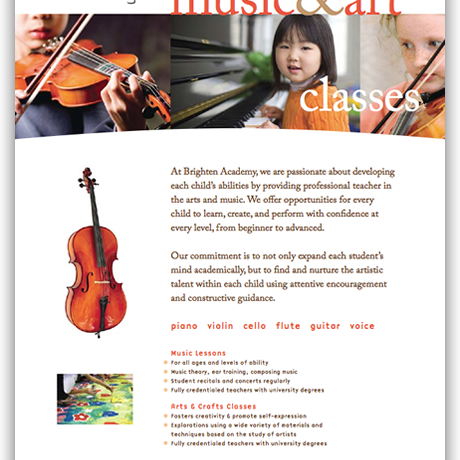 One Page Music Brochure  Brochure Ideas Trifold And Single