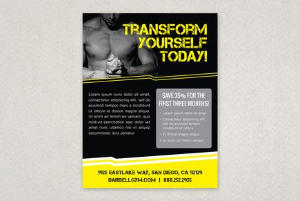 Edgy Sports Finess Flyer Template A gym fitness center or – Gym Brochure Templates