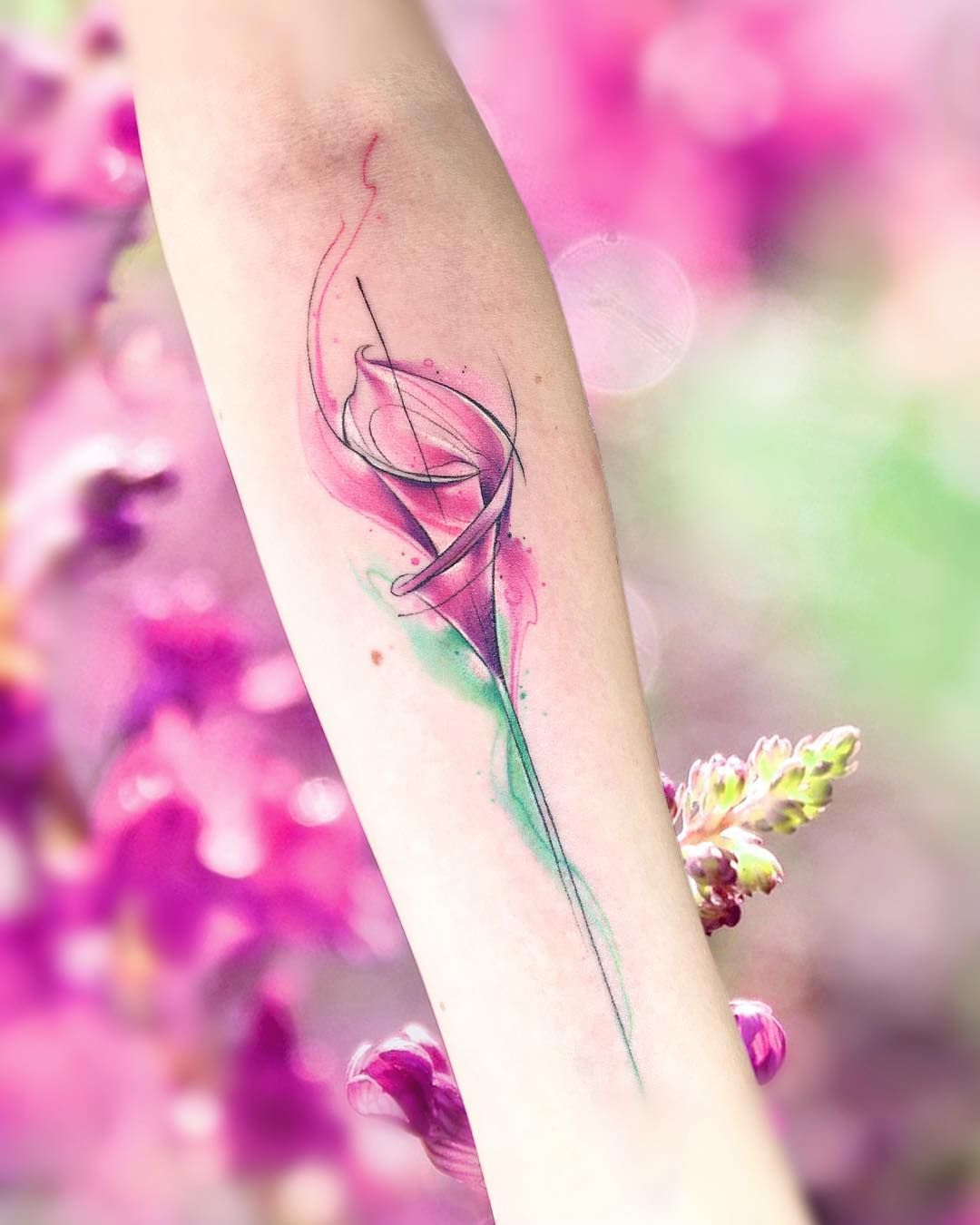 watercolor tattoo flower - HD1080×1350