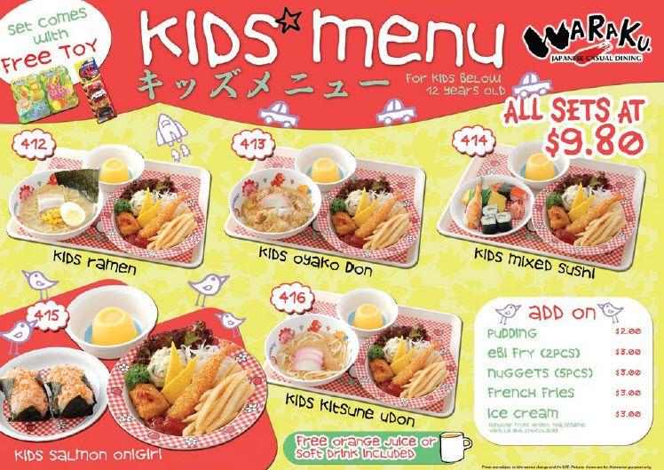 kids menu.