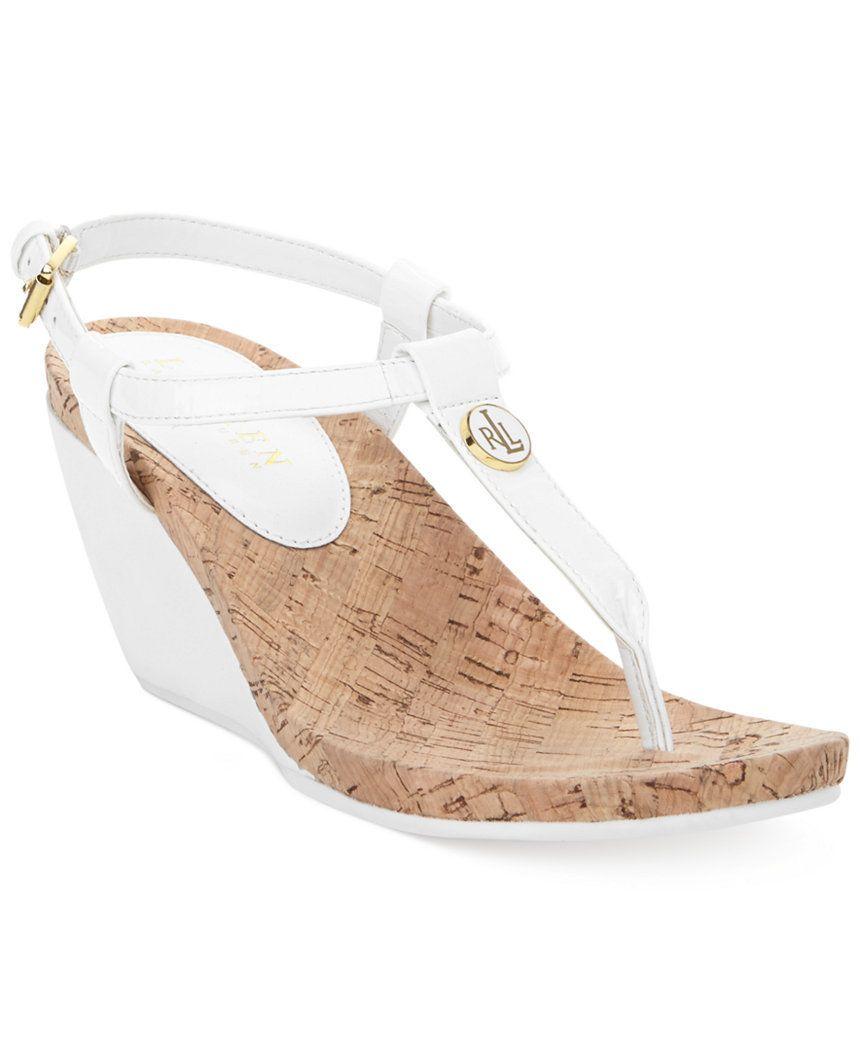 d1fa3848c5bb Lauren Ralph Lauren Reeta T-Strap Thong Wedge Sandals White  42 FREE  SHIPPING OR PICK UP