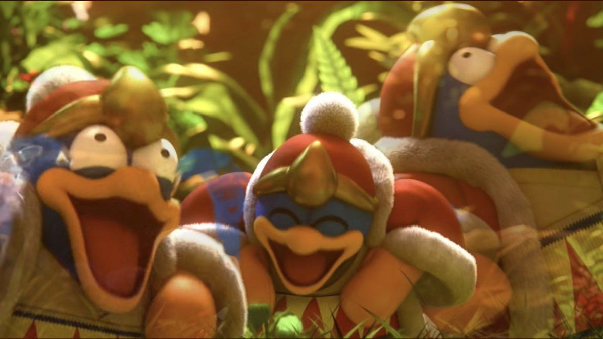 Laughing King DeDeDe refers to a clip from the August 8th, 2018 Nintendo Direct presentation for Super Smash Brothers Ultimate in which King DeDeDe pranks Donkey Kong and Diddy Kong into thinking he is Donkey Kong series villain King K. Rool, causing him to burst into laughter before he's attacked by King K.Rool.    #nintendo #gamer #donkeykong #kingdedede