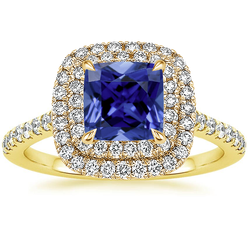 18k Yellow Gold Sapphire Soleil Diamond Ring 1 2 Ct Tw Yellow Gold Sapphire Engagement Rings Sapphire Rings