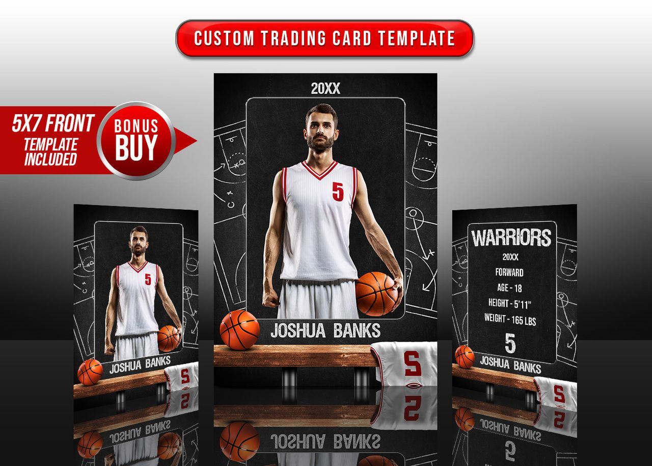Sports Trading Cards And 5x7 Template Basketball Chalk Trading Card Template Card Templates Free Card Template