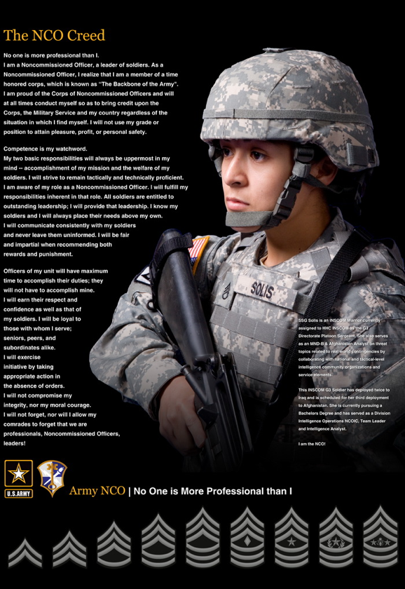 US ARMY - the NCO creed  Civilian social work should have