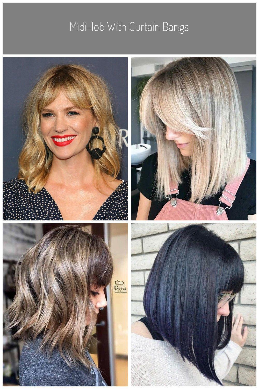 Midi Lob With Curtain Bangs Lob With Bangs Midi Lob With Curtain Bangs In 2020 Long Bob Haircut With Bangs Lob Haircut Bob Haircut With Bangs