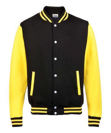 Jet Black Sun Yellow Letterman Jacket Women Men By Varsity Team Players Baseball Varsity Jacket Varsity Hoodie Jacket