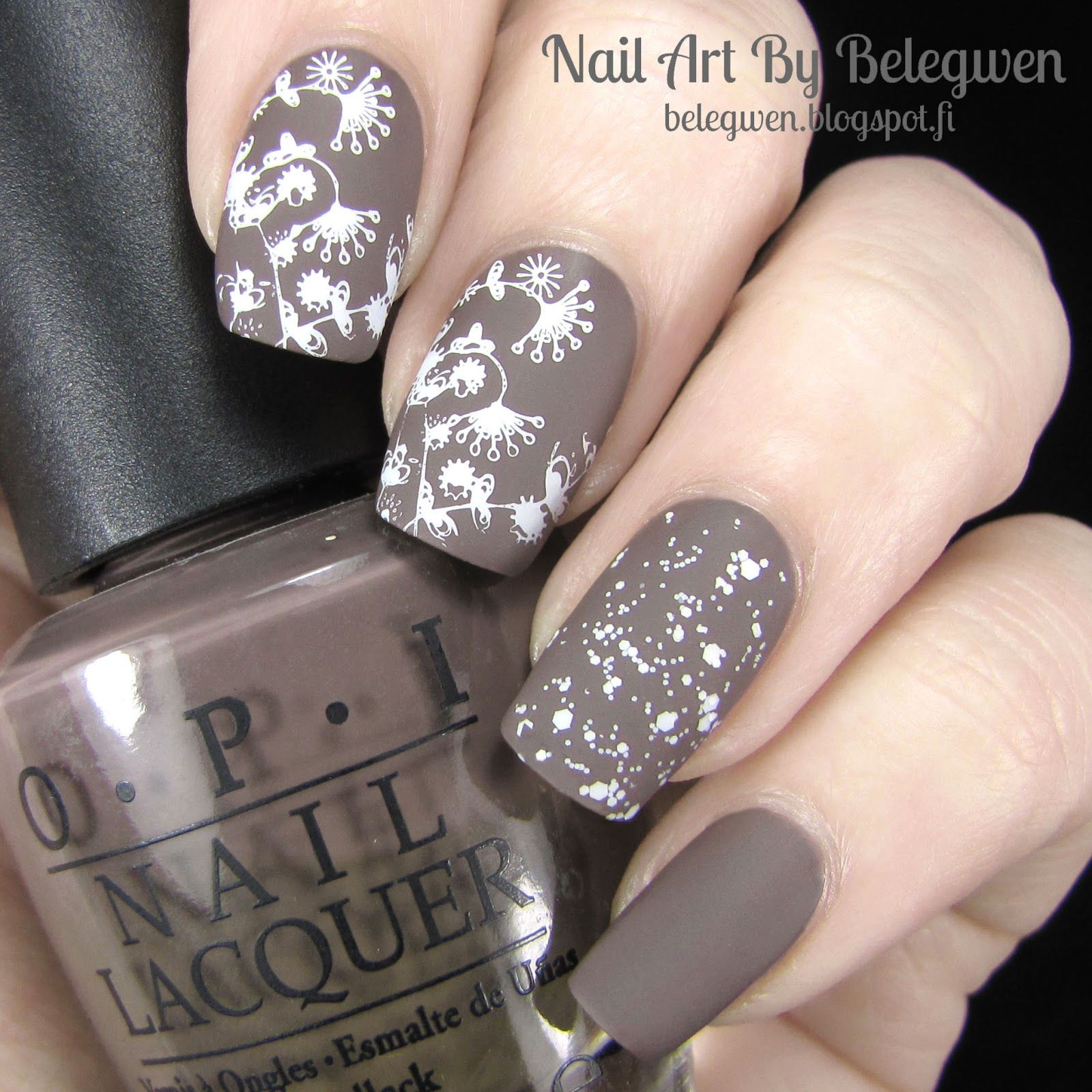 Nail Art By Belegwen: OPI You Don't Know Jacques! and Picture Polish Storm