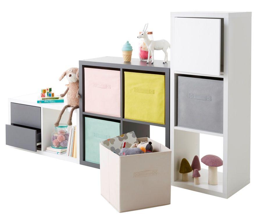 Etagere Modulable 4 Cubes Coloris Gris Mixxit Meuble Rangement Enfant Meuble Gris Et Blanc Rangement Enfant