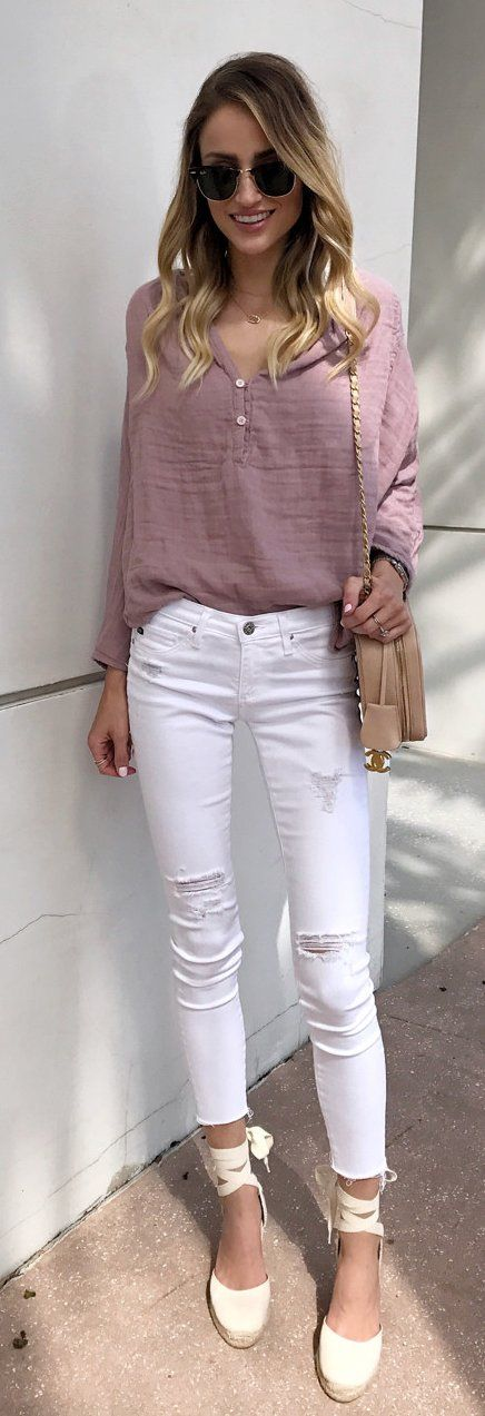 #summer #outfits Pink Blouse + Ripped Skinny Jeans